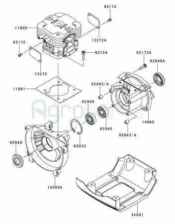 Agroparts Gr 2 Stroke Gasoline Engine Kawasaki Tj 53